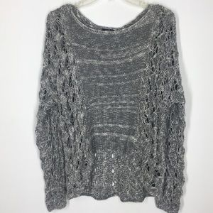 Grey marled hi low open knit sweater